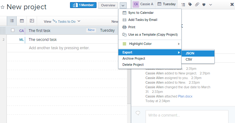 Asana data export screenshot