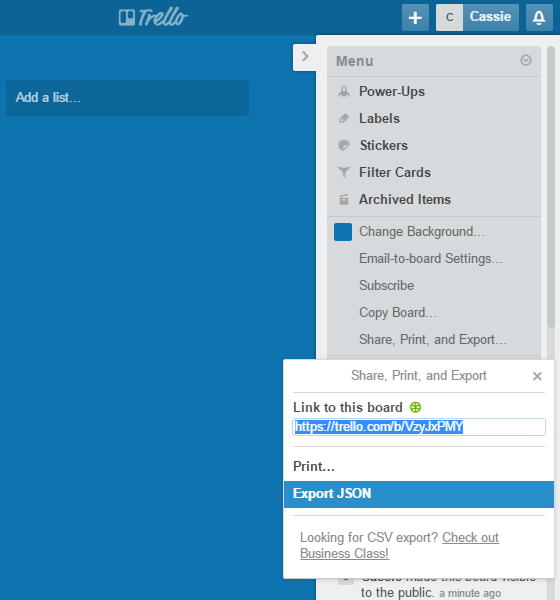 Trello data export screenshot