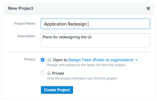 Asana new project screenshot