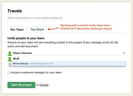 Basecamp new project screenshot