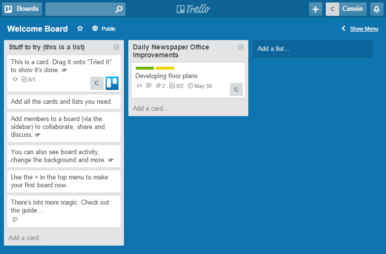 Trello task list screenshot