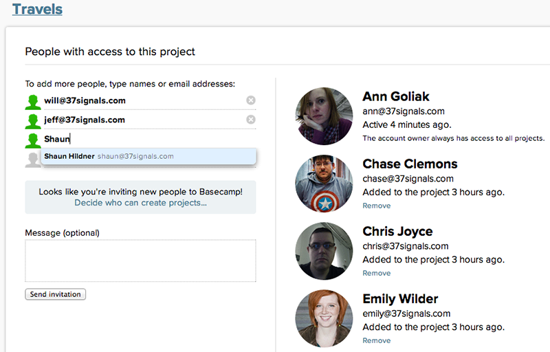 Basecamp manage people screenshot