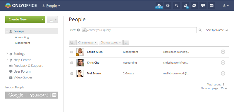 Onlyoffice manage people screenshot