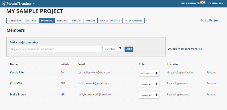 Pivotaltracker manage people screenshot