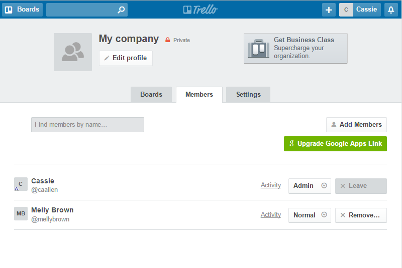 Trello manage people screenshot
