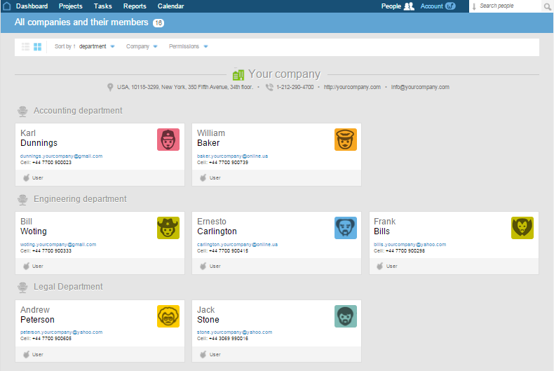 Worksection manage people screenshot