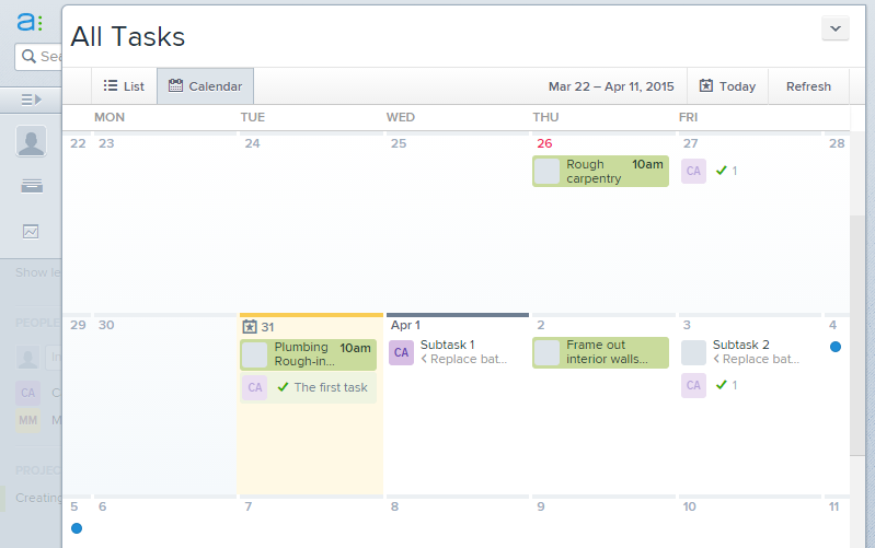Asana calendar screenshot