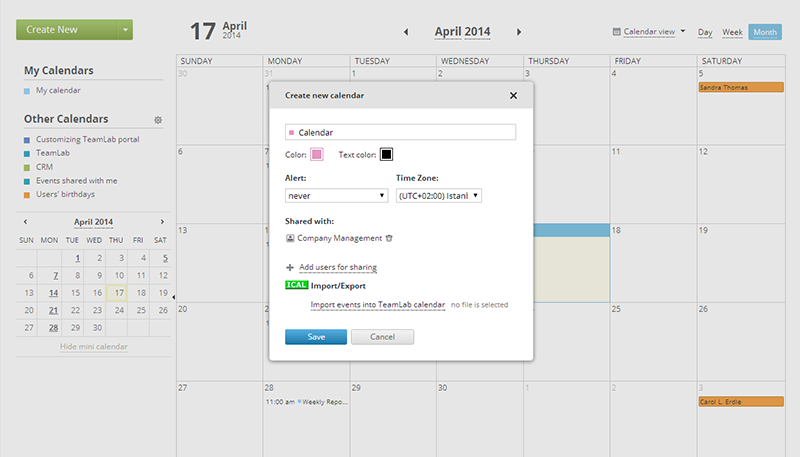 Onlyoffice calendar screenshot