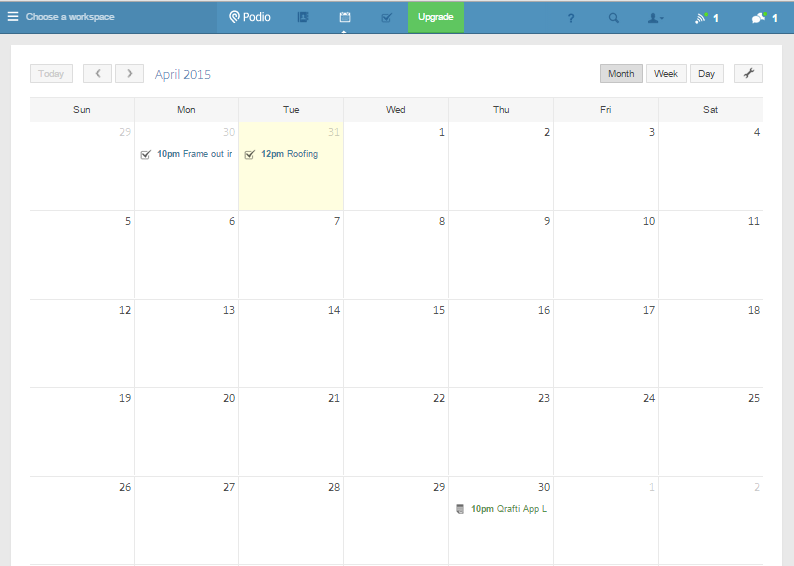 Podio calendar screenshot