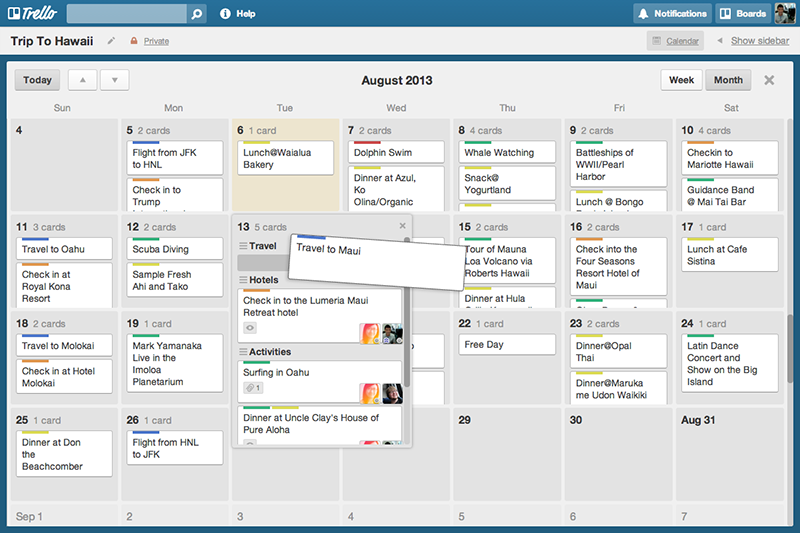 Trello calendar screenshot