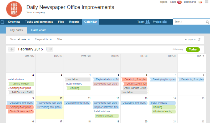 Worksection calendar screenshot